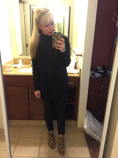 Sweater: H&M, Leggings: Old, Booties: Steve Madden