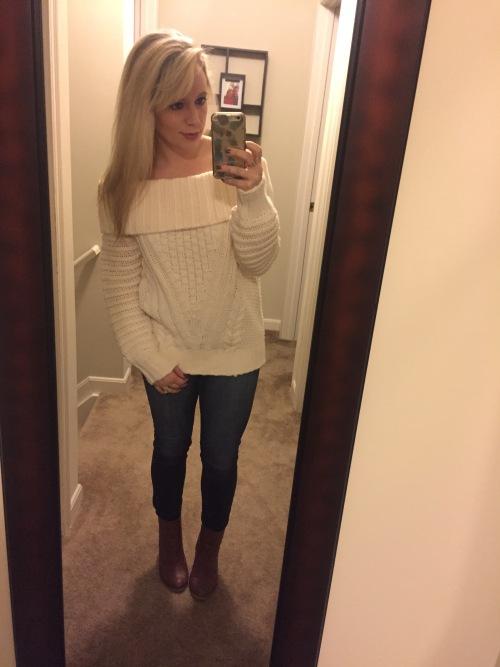 Dinner & Drinks: Sweater: H&M, Jeans: American Eagle, Booties: Burlington Coat Factory