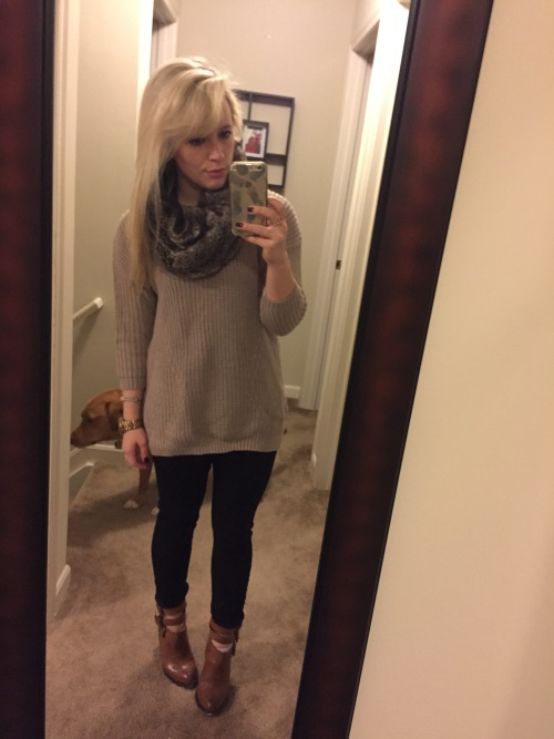 Sweater: F21, Jeans: Old Navy, Booties: Chinese Laundry, Snood: Amazon.com, Lip: Kat von D Liquid Lipstick in 'Mother'