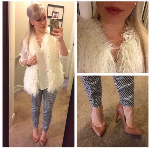 Vest: Target, Top: Charlotte Russe, Pants: H&M, Pumps: Jessica Simpson via DSW