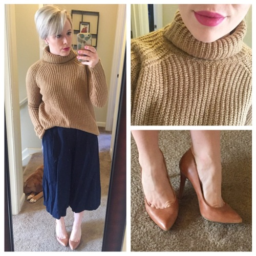 Sweater: Forever 21, Culottes: Old Navy, Pumps: Jessica Simpson via DSW, Lip: Kat Von D Liquid Lipstick in 'Mother'