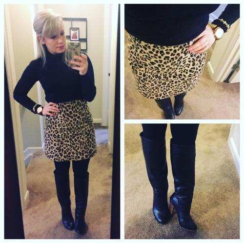 Turtleneck: Express via Gabes, Skirt: Zara, Tights: Target, Boots: Lulu's