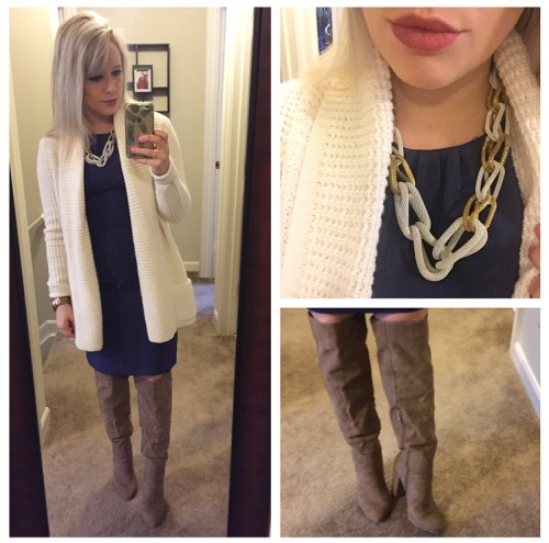 Cardigan: Target, Necklace: Charlie Boutique, Dress: H&M, Boots: Just Fab