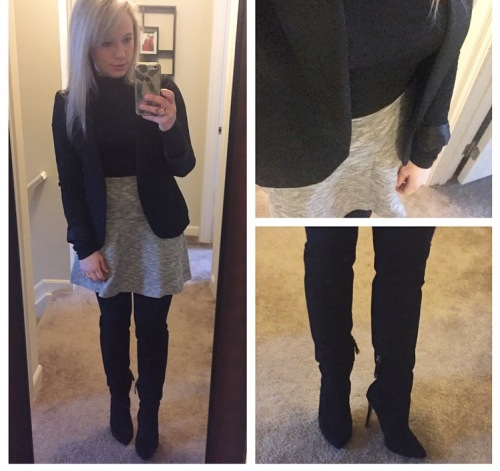 Blazer: Gabes, Turtleneck: Express, Skirt: Old Navy, Heels: Forever 21
