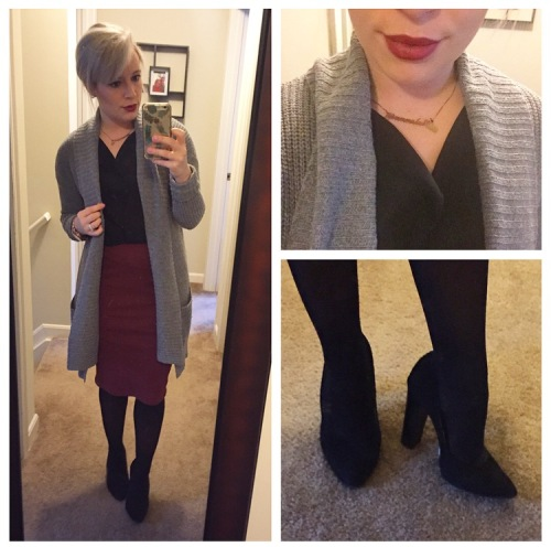 Sweater: Aerie, Tank: Banana Republic, Skirt: Old Navy, Heels: BCBG, Lipstick: MAC 'Diva'