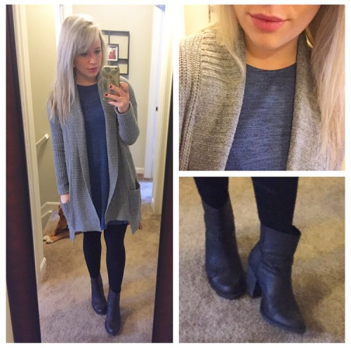 Dress: Old Navy, Sweater: Aerie, Booties: Dibya via DSW, Tights: Target