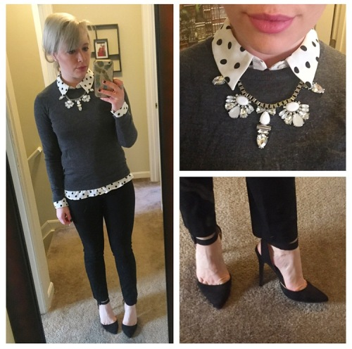 Sweater: Gap, Polka-Top Blouse: Forever 21, Necklace: Express, PantsL Gap, Heels: Qupid