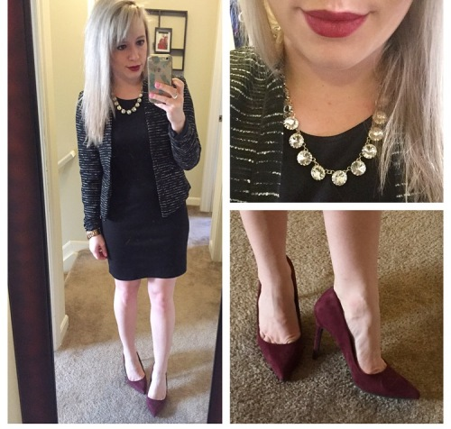 Tweed Blazer: H&M, Dress: TJ Maxx (old), Necklace: Forever 21, Pumps: Target (and seriously so comfortable), Lip: MAC 'Rebel'