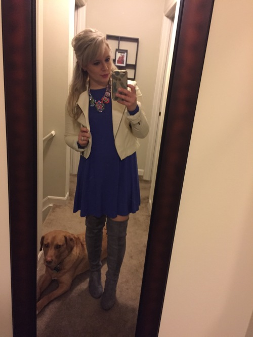 Jacket: Wilson's Leather Outlet, Dress: Old Navy, Necklace: Target, Boots: Amazon
