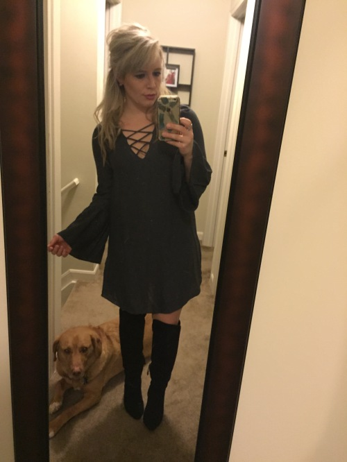 Drinks with friends: Dress: H&M, Boots: Forever 21