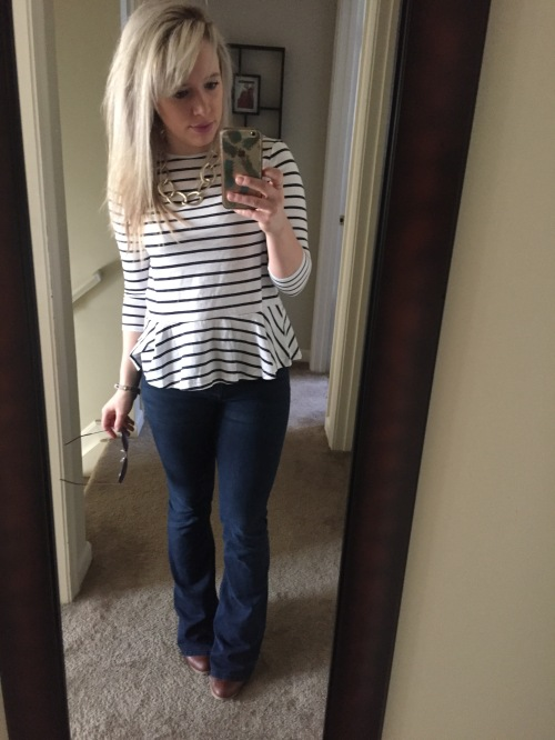 Peplum tee: Macy's, Flares: H&M, Necklace: Charlotte Russe