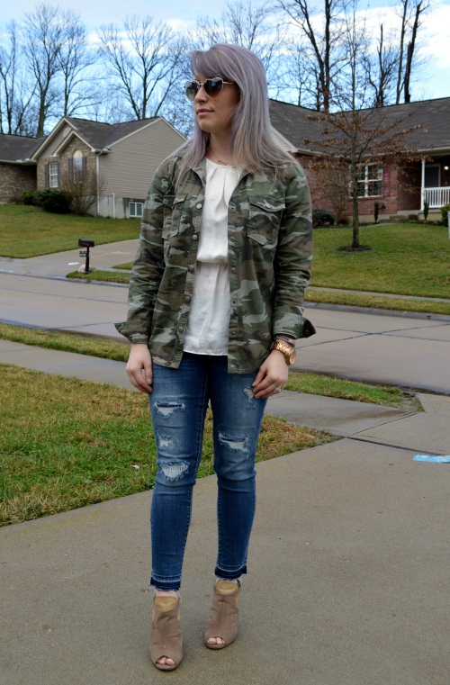 Camo button-Up: Forever 21, Silk peplum tank: Marshall's, Jeans: Merona/Target, Shoes; Burlington (old), Watch: Fossil, Sunnies: Nordstrom