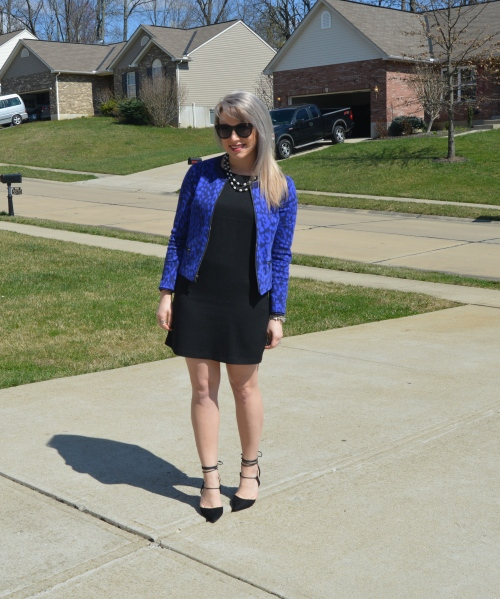 Jacket: Gap (old!), Dress: F21, Heels: Steve Madden, Necklace: Old/Gift, Lip: Marc Jacobs 'Kiss Kiss Bang Bang', Sunnies: Marshall's