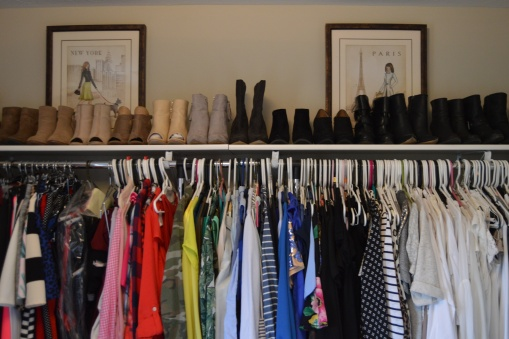 A new shelf in my walk-in for extra shoe storage (thanks to my hubby!). Yes, those are just my booties....