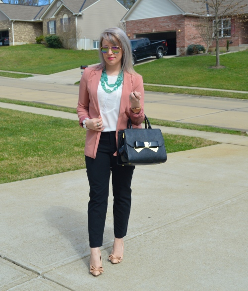 Blazer: Marshall's, Necklace: Forever 21, Top: Sam Edelman, Pants: Old Navy 'Harper' trouser (altered), Pumps: Betsey Johnson found at Mashall's, Bag: Anne Klein, Lip: