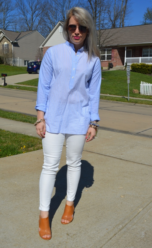 Top: Tommy Hilfiger Jeans: Target, Heels: BCBG via TJ Maxx (last year), Bracelets: Vintage & Target, Lip: Kat Von D Everlasting Liquid Lipstick in 'Mother'