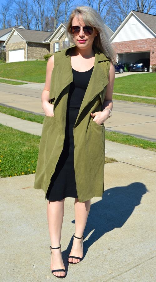 Vest: CN Direct, Midi Dress: Old Navy, Heels: Charlotte Russe