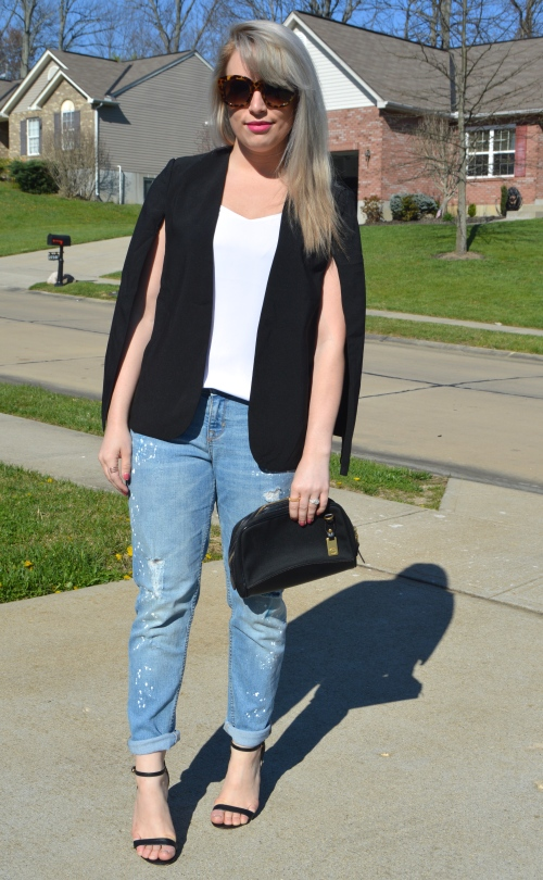 Cape: SheIn, Tank: Express, Boyfriend Jeans: Old Navy, Heels: Charlotte Russe, Clutch: Dooney & Bourke, Lip: Smashbox Matte