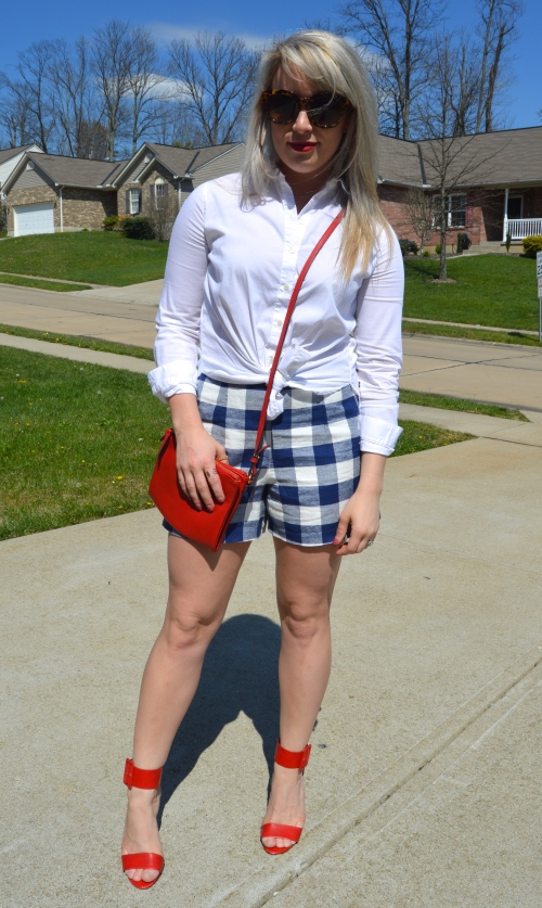 Tie-Front Button-Up: Anne Klein (old), Shorts & Bag: Old Navy, Heels: Charlotte Russe (old), Lip: Marc Jacobs Le Rouge Le Marc Lipstick in 'So Rouge'