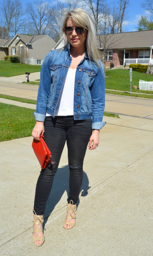 Jacket: Forever 21, Tank: Express, Jeans & Clutch: Old Navy (purchased approx. 1 year apart), Heels: Charlotte Russe