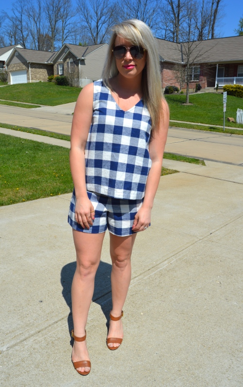 Gingham Matching Set: Old Navy, Wedges: Payless (purchased approx 2 years ago), Lip: