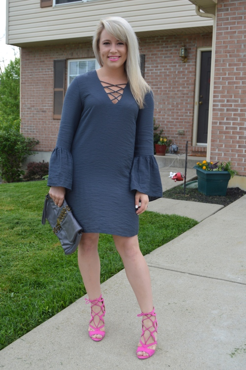 Dress: H&M, Heels: JustFab (purchased last year), Bag: Kardashian Collection (old), Lip: Bite Beauty in Velvet mixed with xx Color Whisper in Faint for Fuschia