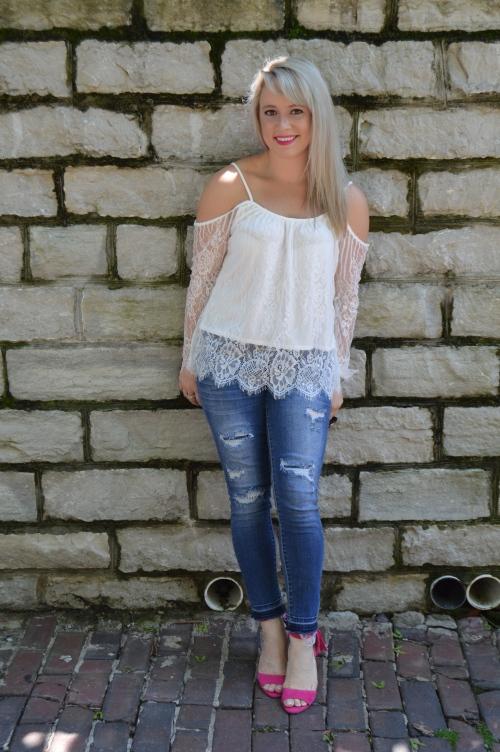 Top: SheIn, Jeans: Target, Heels: UrbanOG, Lip: Kat Von D Everlasting Liquid Lipstick in '    '
