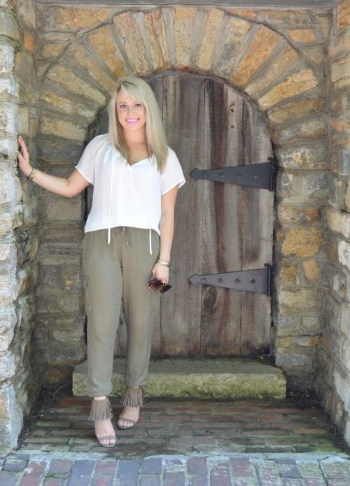 Top: Forever 21, Pants: Charlotte Russe, Heels: Go Jane, Lip: Kat Von D Everlasting Liquid Lipstick in 'Armageddon', Bracelets: Vintage, Sunnies: Betsey Johnson via TJ Maxx