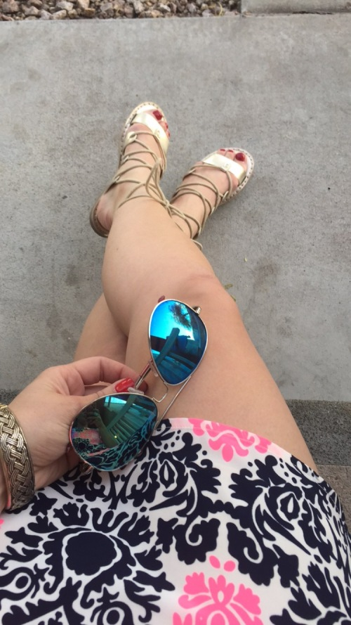 Dress: Marshall's (last year), Sandals: American Eagle (also last year), Sunnies: Betsey Johnson