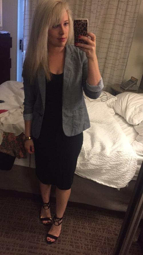 Blazer: Gap, Dress: Old Navy, Heels: DSW