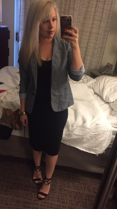Blazer: Gap, Dress: Old Navy, Heels: DSW