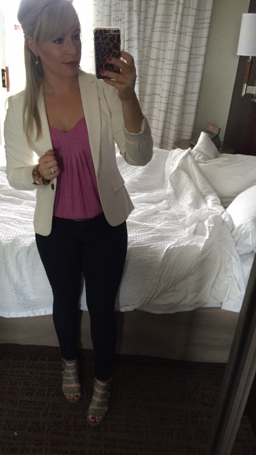 Blazer: H&M, Tank: Marshall's (very old), Jeans: Target, Wedges: Crowne Vintage via DSW, Lip: NARS 'Never Say Never' (yes, again!)