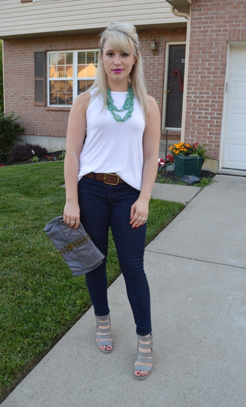 Tank & Belt: Old Navy, Jeans: Target, Necklace: Forever 21, Wedges: Crown Vintage via DSW, Bag: Kardashian Kollection for QVC, Lip: Urban Decay in 'Matte Bittersweet'