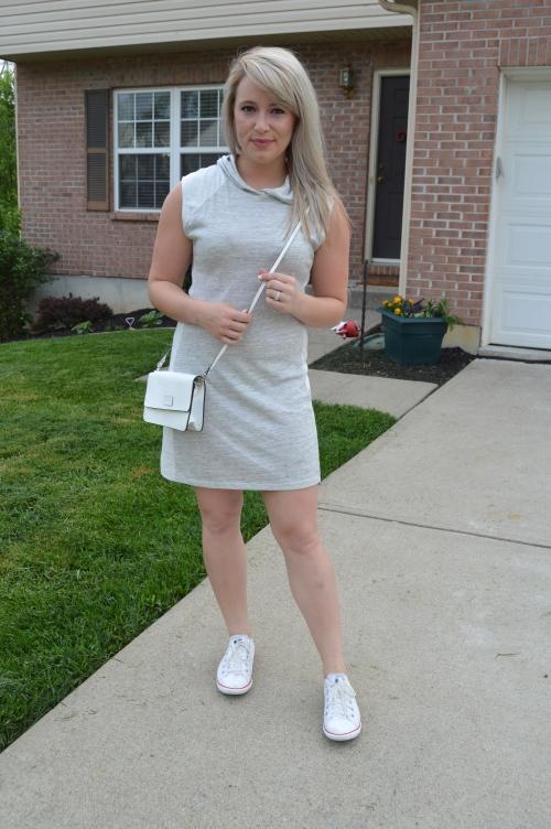 Dress: TJ Maxx, Shoes: Chuck Taylor via DSW, Bag: old, found at Gabes
