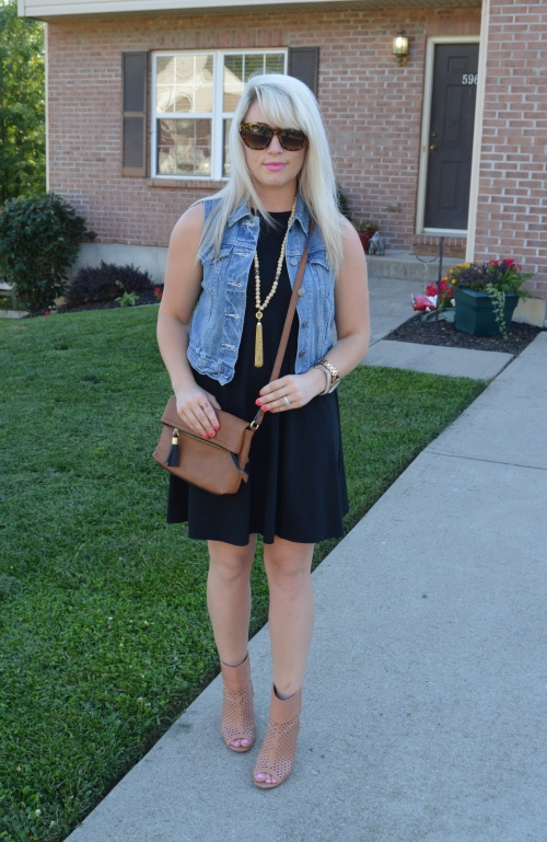 Dress: Old Navy, Vest: Levi's, Booties: ShoeDazzle, Sunnies: Marshall's, NEcklace: Charlie Boutique, Bag: DSW