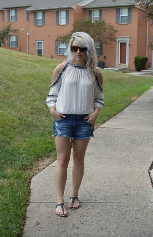 Top: SheIn c/o, Shorts: H&M (last seen here), Sandals: Target, Sunnies: TJ Maxx, Lip: NARS Velvet Matte Lip Pencil in 'Never Say Never'