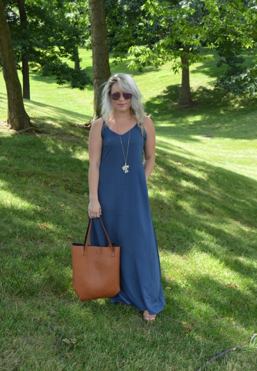 Dress: Make Me Chic c/o, Bag: Nordstrom, Necklace: Charlie Boutique, Wedges: Crown Vintage via DSW, Sunnies: Amazon