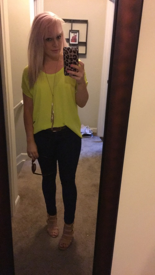 Top: thrifted at Buffalo Exchange, Necklace: & jeans: Target, Wedges: Crown Vintage via DSW