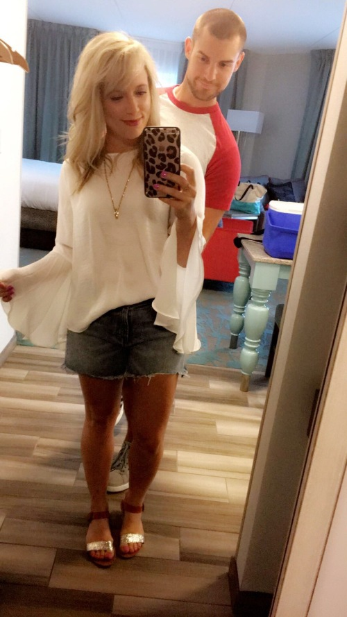 Top: Target, Shorts: Gap, Sandals: Target, Necklace: vintage, Lip: Marc Jacobs 'Kiss Kiss Bang Bang'